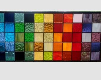 Stained glass window panel geometric rainbow squares stained glass panel window hanging modern abstract transom 0354 22 1/2 x 10 1/2