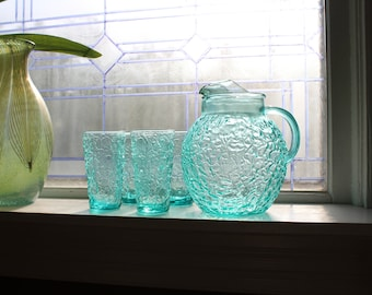 Blue Glass Pitcher and 4 Tumblers Lido Milano Vintage 1960s Crinkle Glass
