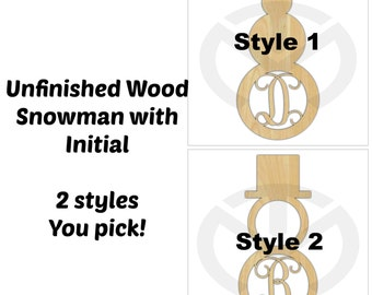 Unfinished Wood Snowman Monogram Door Hanger Laser Cutout with Your Initial, Holiday Decor, Custom, Various Sizes, 2 styles