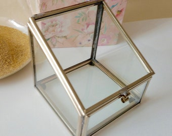 Ready to ship: Special Price  1 Glass Ring Bearer or Glass Trinket Box Silver