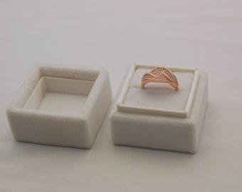 Square velvet ring box - Handmade ring box - White velevt