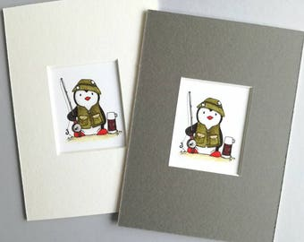 Fishing gift, fishing penguin, little fisherman print, Fathers day gift, fishing print