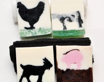 4 Bar Farm Animal Soap Set  Farm Bathroom  Farm Kitchen Decor  Farmhouse  Kitchen  Farmhouse Bathroom  Rustic Bathroom  Rustic Kitchen Decor