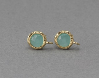 Mint Glass Post Earring . Earring Component . 925 Sterling Silver Post . 16K Polished Gold Plated over Brass  / 2 Pcs - CG016-PG-MT