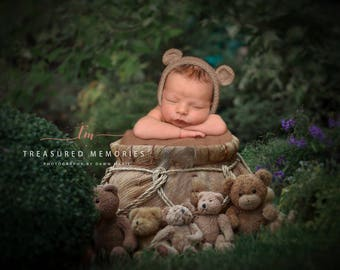 Digital backdrop, background newborn baby girl or boy outdoor garden  flowers teddy bear bears