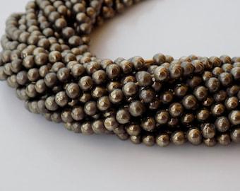 Round Hematite Beads, 4mm Pyrite Hematite Beads