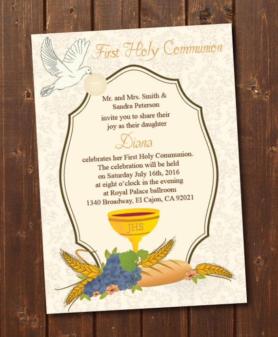 Vibrant image regarding printable first communion cards