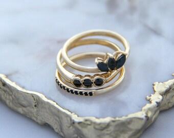 Dainty Gold Ring, Stacking Ring, Black Onyx Ring, Minimalist Ring, Gemstone Ring, Tiny Gold Ring, Black Ring, Sterling Silver Ring.