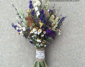 Dried & Preserved Flower Bouquets Wedding by DriedFlowersForever