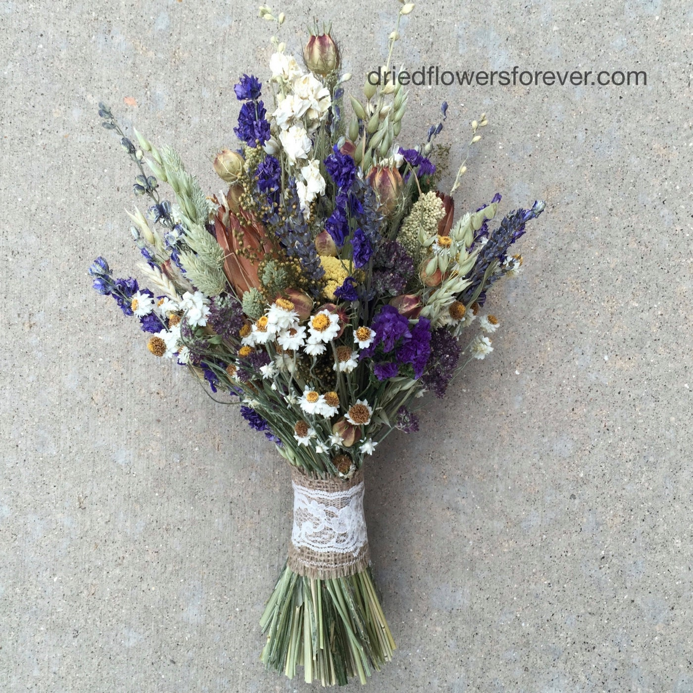 Purple dried flower wedding bouquet natural rustic preserved zoom izmirmasajfo Image collections
