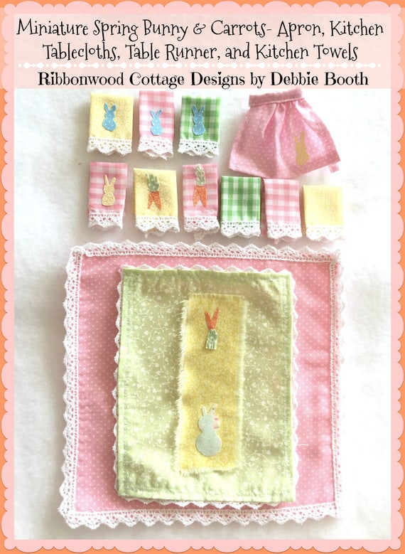 PDF Pattern Miniature Spring Bunny and Carrots Tablecloth, Runner, Kitchen Towel and Embellished Apron - Dollhouse Scale 1:12