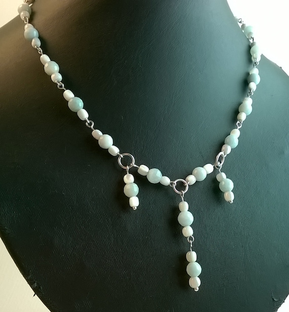 S - 460 Amazonite and mother-of-pearl necklace
