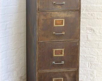Tannery Reclaimed Vintage Urban Industrial 1940s Stripped Steel 4 Drawer Filing Cabinet - Sourced and stripped to order Industrial Furniture