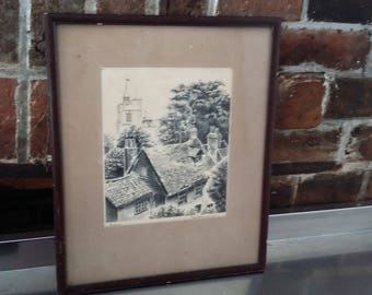 Vintage Pen and Ink Print Chiswick by ? Ernest....57
