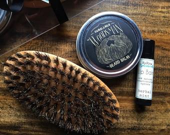Beard balm kit, Beard care gift set, groomsmen beard kit, beard care brush, beard grooming kit, beard kit gift, groomsmen beard gift