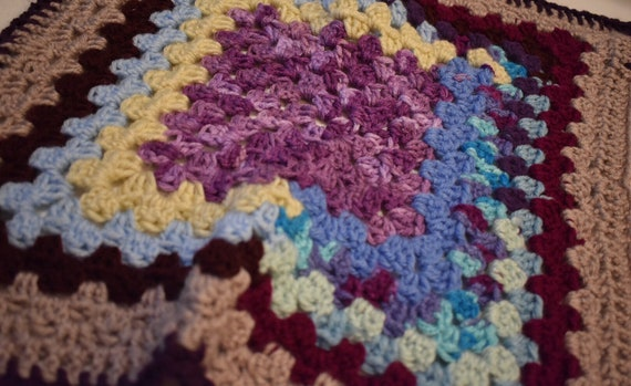 Patchwork Crochet Cat Mat -- Granny Square Pet Blanket in Bright Colors