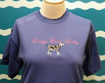 Diary goat t-shirt - crazy goat lady shirt - funny goat tshirt - custom embroidery goat tshirt - embroidered t-shirt