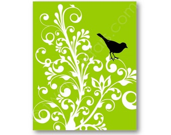 Bird and Swirl Branches Poster Print, Art for Kitchen, Bedroom, Bathroom Minimalist Bird Swirl Retro Wall Art, Bird Wall Art, Bird Canvas