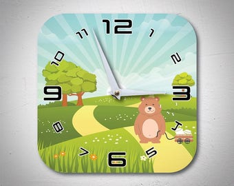 A daddy Bear in the forest Unique Wooden Wall Clock for baptism, baby shower gift or nursery wall decor - MadMadeWorld