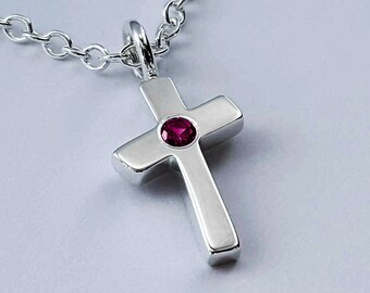 Ruby Cross Necklace Pendant In Sterling Silver - Sterling Silver Ruby Cross Necklace, Sterling Silver Cross Necklace, Silver Ruby Necklace