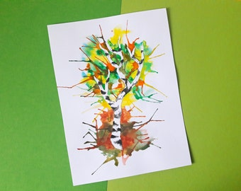 original watercolor painting of colorful birch tree, nature, tree, silhouette, spring, wood,
