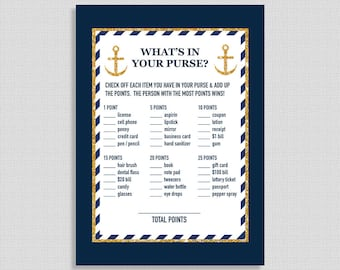Nautical What's In Your Purse Shower Game, Baby, Bridal Shower Game, Navy Blue & Gold Glitter Game, Anchor, INSTANT PRINTABLE