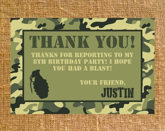 Camo thank you card etsy customized army camo birthday thank you digital file bookmarktalkfo Image collections