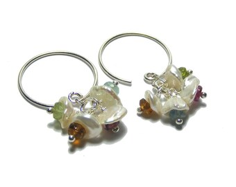 Freshwater Keshi Pearl with Tourmaline Cluster Earrings