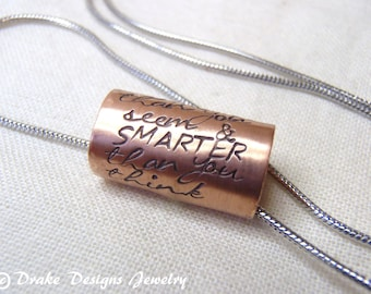 Inspirational quote necklace You are braver than you believe