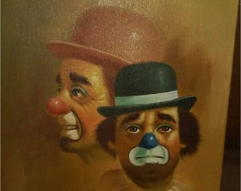 Signed Hoppin 1981 Sad Clown Duo Oil on Canvas Painting
