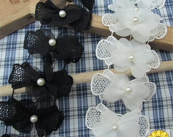Beaded Flower Appliques in Ivory for Bridal, Headbands, Jewelry or Costume Design 10 pieces