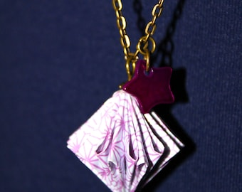 Necklace with pink and white Origami paper bead.