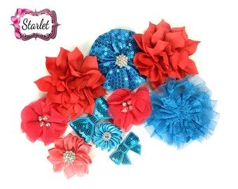 Flower Grab Bag, Assorted Headband Flowers, DIY Flowers, Orange Blue Flower Assortment, DIY Flowers