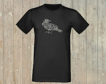 T-Shirt Raven, glows in the dark! embroidered