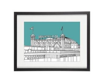Brighton Pier | Brighton Print | Brighton Illustration | Coastal Prints | City Prints | Architectural Print | Bathroom Print