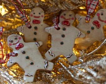 Handmade Ceramic Christmas Ornament - Bowtie Gingerbread Man