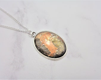 Gold Black Marble Glitter Oval Nail Polish Cabochon Necklace on 18 Inch Silver Plated Chain, Nail Varnish, Enamel, Valentines Day