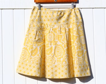 Yellow Blossom A-line skirt, Skirt with a pocket, Block Print inYellow, Semi Gatherd A-line Skirt, knee length, hip sizes 30-56 inches