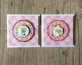Couple of pink cards - greeting card - 3D card - handmade card