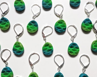 Mermaid Scale Stitch Markers. Universal for knitting and crochet.  Green. Teal. Set of 2. Ready to ship
