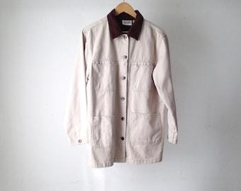 cream TWIN PEAKS oxford denim CONTRAST collar 90s jacket coat