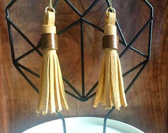 Tan Leather Tassel Earrings
