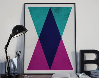 Geometric Print Triangles (Limited Edition of 100) - A3 Vintage Retro Geometric Poster Polygraphic Street Art Print Geometric Wall Art Gift