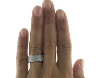 1 Carat Diamond Wedding Band, 14K  White Gold, Double Row Diamond Ring, Diamond Wedding Ring, 1 Carat Diamond Ring, Beautiful Ring Art Ring
