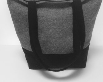 Grey & black tote bag-Canvas tote bag-Lined tote bag-Tote with pockets