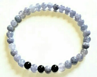 Mens Aquamarine Stone  and Black Onyx Bead Bracelet, Natural Gemstone Stretch Bracelet, Gift for Guys, Mens Birthday Gift