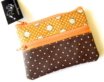 Brown and yellow dotty handmade double zipper pouch purse for coins and cards.