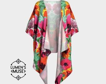 Floral Fractal Kimono Robe Dress