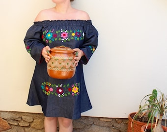 Off the Shoulder Colorful Mexican Dress with Embroidered Flowers-Denim-Summer-BOHO-Hippie-Frida Kahlo style- Handmade Dress-Floral-Wedding