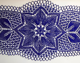 Blue handmade knitted oval doily